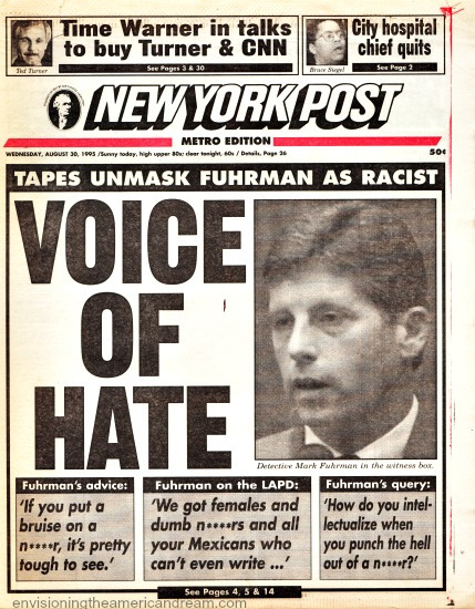 NY Post headline 1995 OJ Trial Fuhrman Racist